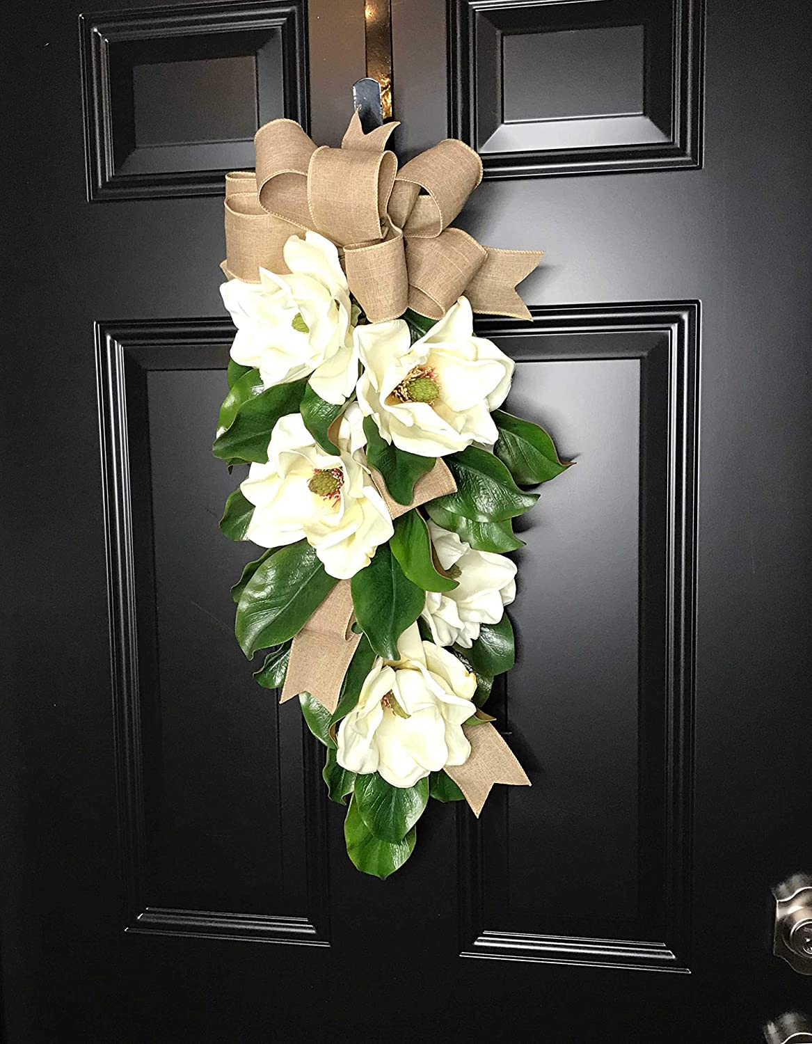 Handmade Teardrop Magnolia Wreath-Magnolia Swag for Front Door Porch Indoor Wall Farmhouse Decor Spring Springtime Summer Summertime Fall Year Round Large 30L x 18 W