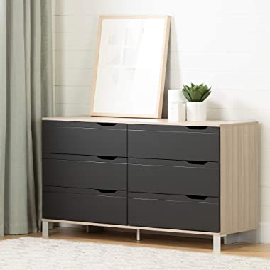 South Shore 12129 Kanagane 6-Drawer Double Dresser-Soft Elm and Matte Charcoal