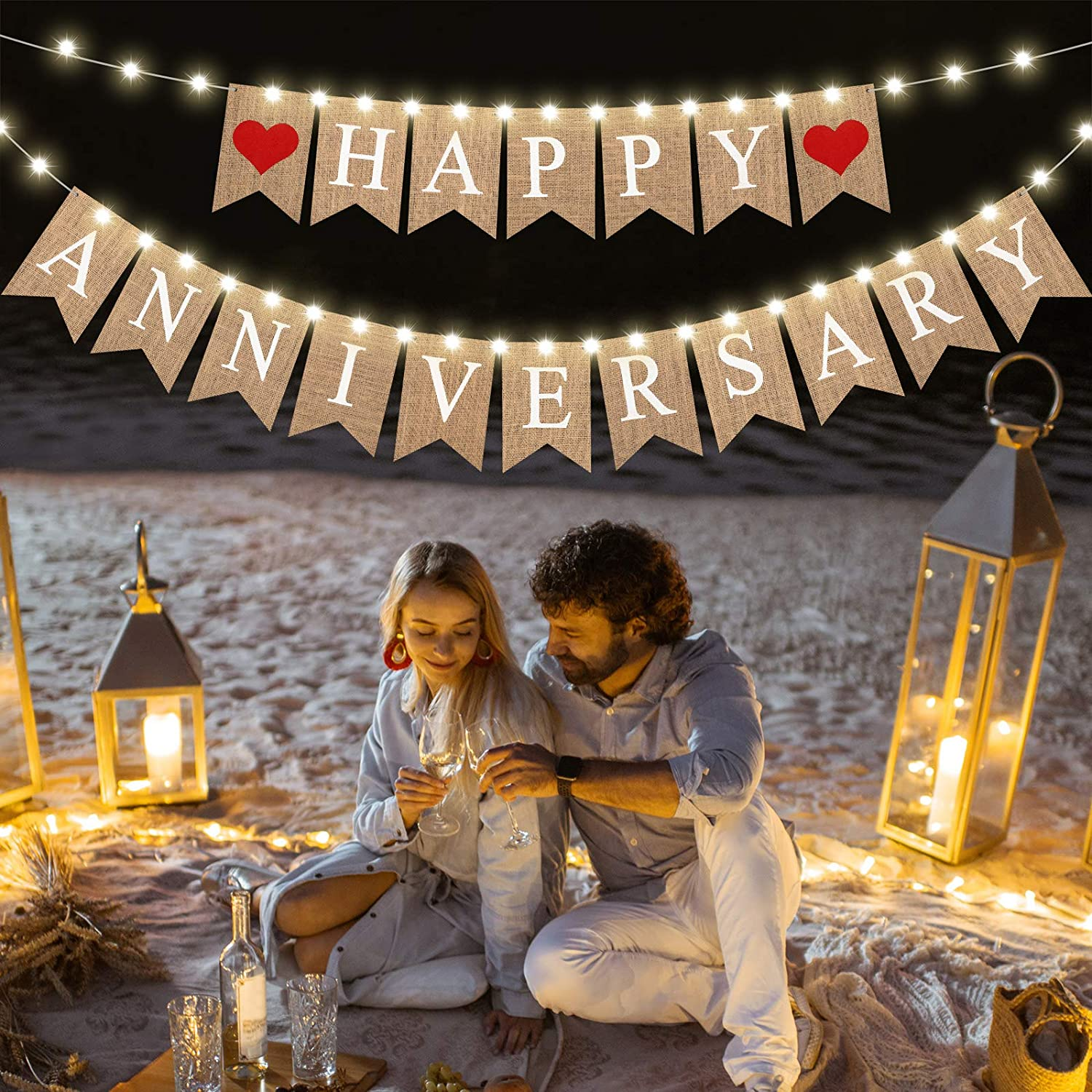 Happy Anniversary Banner Jute Burlap Decorative Banner Printed Wedding Decoration Banner and 2 Pieces Led Fairy String Light Copper Wire String Light for Anniversary Party Decoration, 8 Flicker Modes