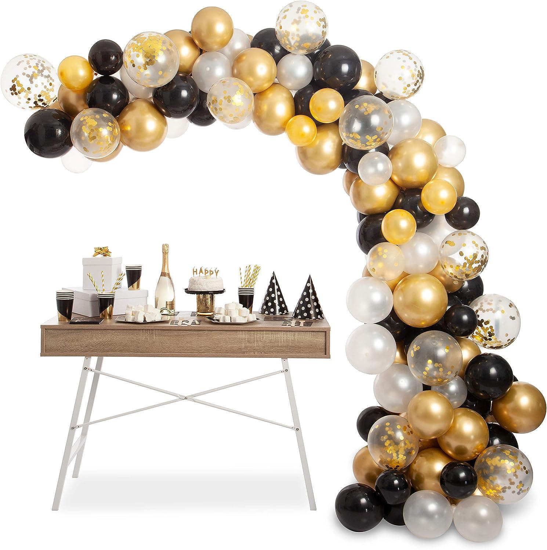 92Pc Balloons Garland Arch Kit Latex Balloons White Silver Confetti Party Ballon