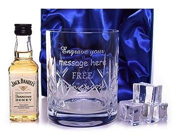 Personalizado/grabado cristal vaso de jack daniels miel en miniatura en seda caja de regalo