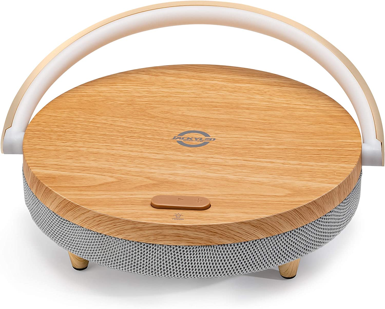 Portable Bluetooth Speaker with Wireless Charger and LED Night Light JACKYLED Fast Charging Stand for Indoor Outdoor Compatible with iOS and Android Devices iPhone AirPods2 Galaxy Wood Grain