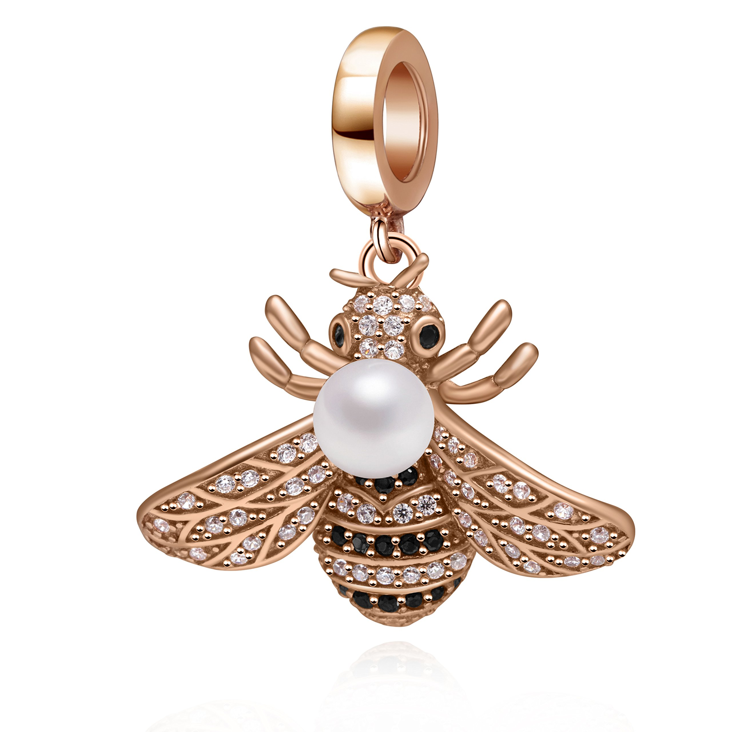 Rose Gold Bee Crystal Charms 925 Sterling Silver Queen Bee Dangle Bead with Simulated Pearl for Bracelet