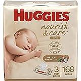 Baby Wipes, Huggies Nourish & Care, SCENTED, Hypoallergenic, 3 Flip-Top Packs, 168 Count