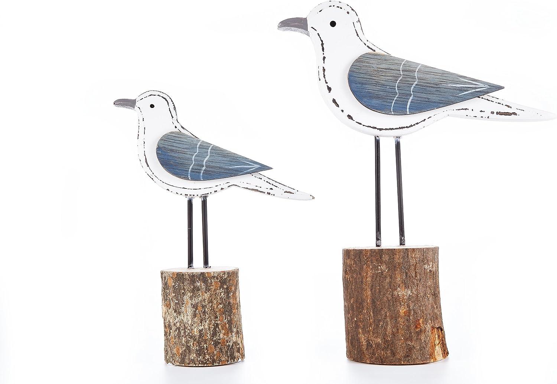 Heitmann Deco Holz-Figuren M/öwen auf Poller maritime und Fr/ühlings-Deko 2er-Set