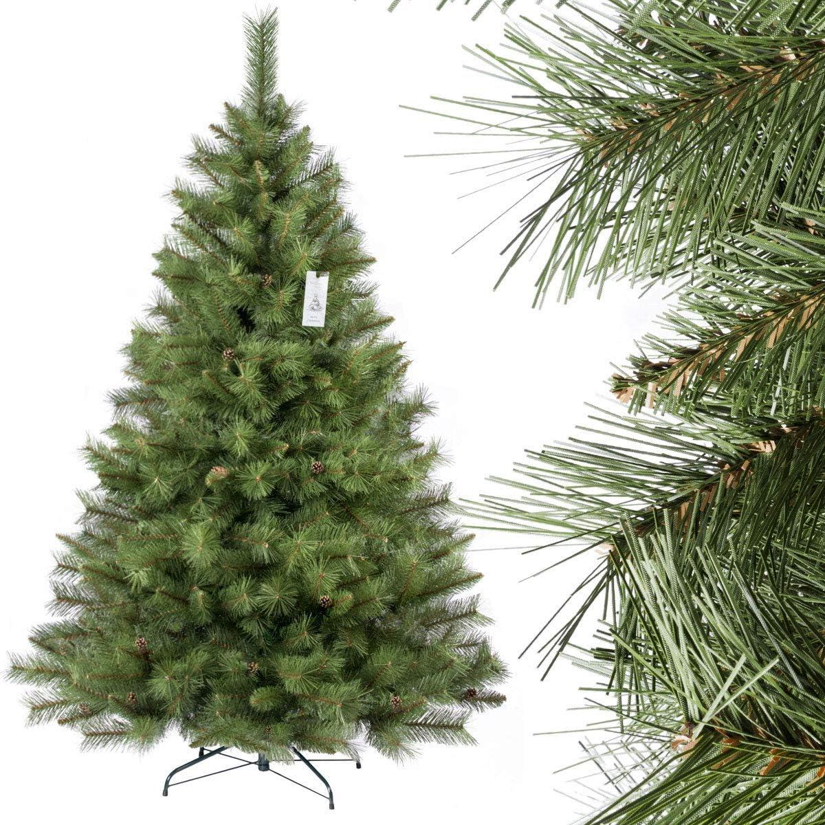 FairyTrees Sapin Arbre de No/êl Artificiel Pin Mati/ère PVC Socle en Bois Naturel Blanc enneig/é Pommes de Pin Vraies 120cm