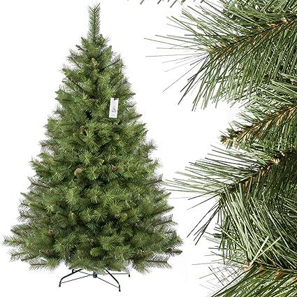 FairyTrees Artificial Árbol de Navidad Abeto ESCANDINAVO, Material PVC, Las piñas verdaderas, el Soporte en Metal, 180cm