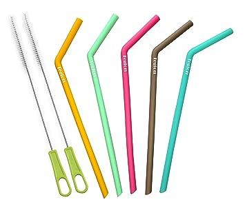 Tegion - 7 pajitas de silicona reutilizables con cepillo para vasos Yeti de 0,6 l, 0,88 l, RTIC, Tervis de 0,7 l: Amazon.es: Hogar