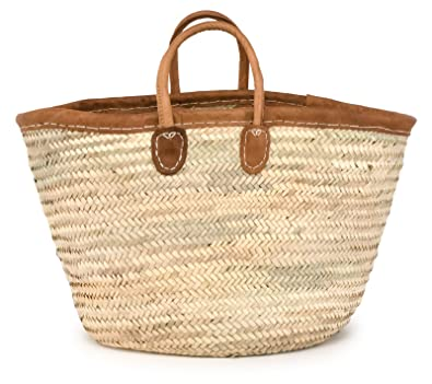 Amazon.com: Moroccan Straw Tote Bag w/ Brown Leather Handles ...