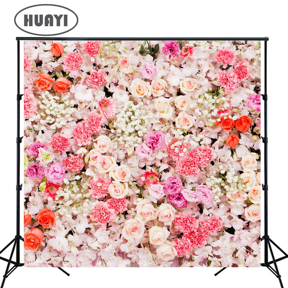 HUAYI Photography Background Wedding Floral Flowers Wall Backdrop 3D Pink Backdrop Curtain for Parties Baby Shower Photo Booth Props Photo Studio 5x5ft Xt-6740 HUAYI Backdrop LTD