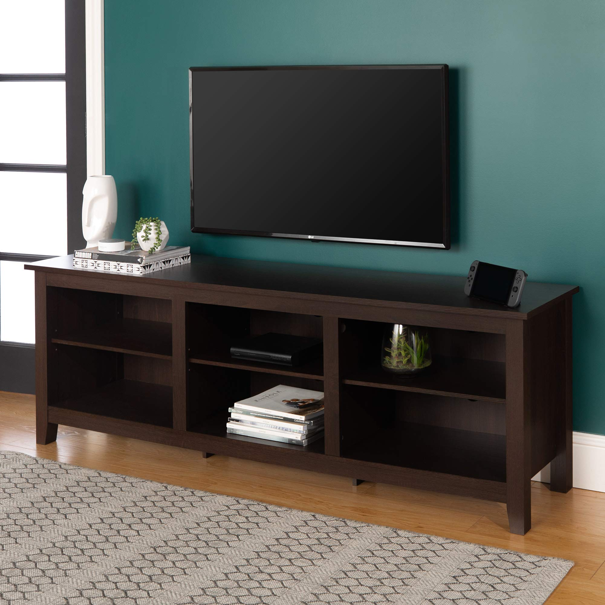 WE Furniture Minimal Farmhouse Wood Stand for TV's up to 78'' Living Room Storage, 70 Inch, Espresso Brown by WE Furniture