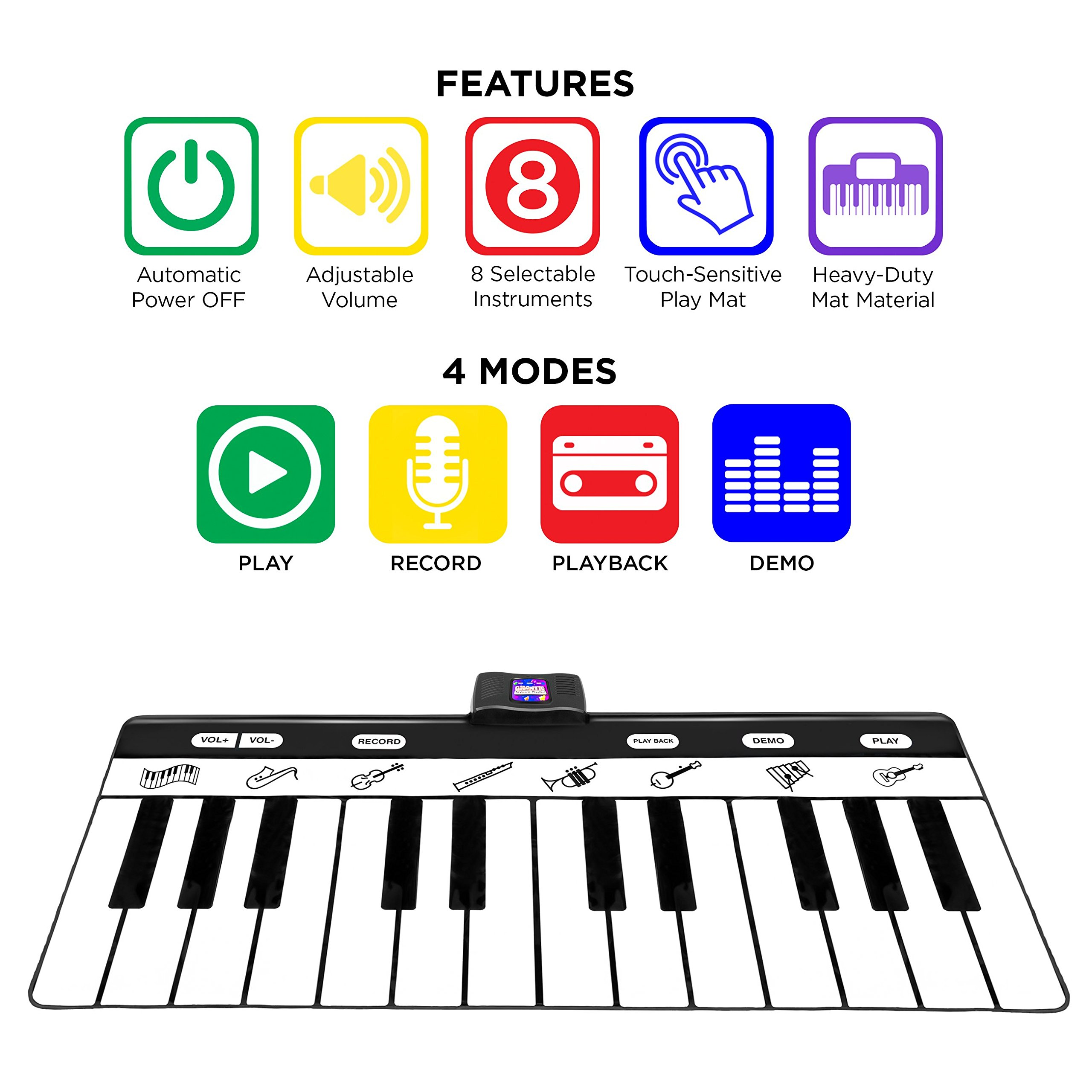 Best Choice Products 71-Inch Vinyl 24-Key Keyboard Playmat with 8 Settings and Recorder, Black/White by Best Choice Products (Image #2)