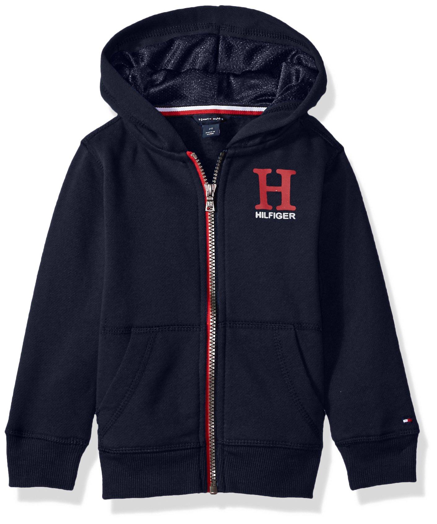 Tommy Hilfiger Toddler Boys' Long Sleeve Matt Logo Zip up Hoodie, Matt Swim Navy, 2T