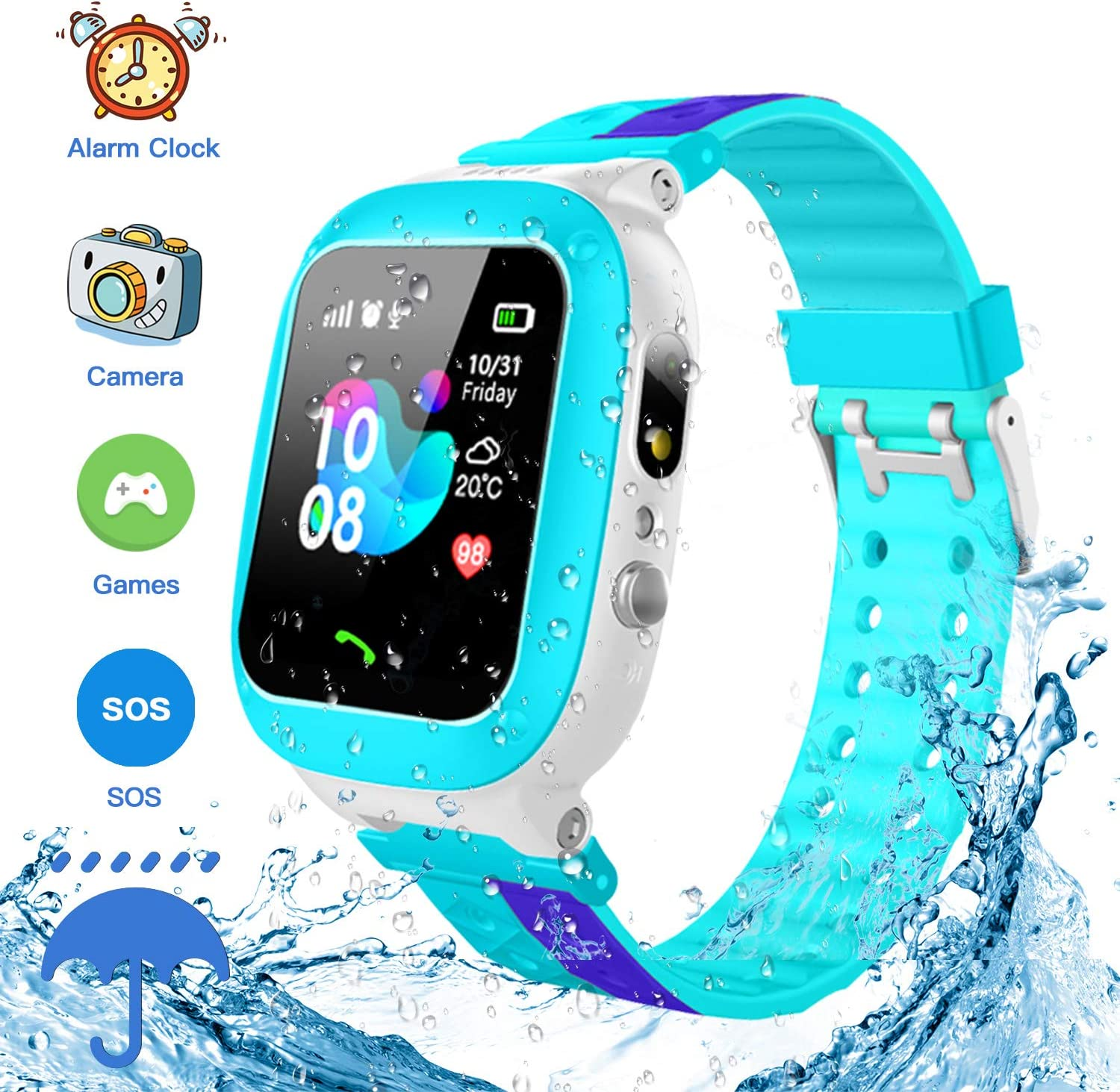 Jsbaby Kids Smartwatch Waterproof GPS/LBS Tracker Phone Compatible iOS Android for Children 3-12 Girls Boys SOS Call Remote Camera Two Way Call Touch ...
