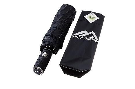 Berger Outdoor Paraguas de Primera, Paraguas Automatico con recubrimiento de Teflon (negra)