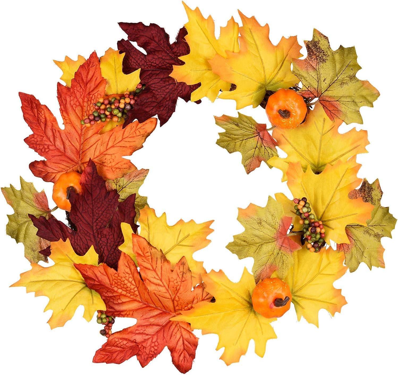 YQing 13 Pulgadas Guirnalda de otoño Artificial de otoño, Coseche la Corona de la Puerta de Acción de Gracias para Puerta Principal con Calabazas, Hojas de Arce y Bayas