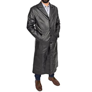 hot product 60% cheap special selection of Mens Long Leather Coat Full Length Black Leather Trench Mac ...