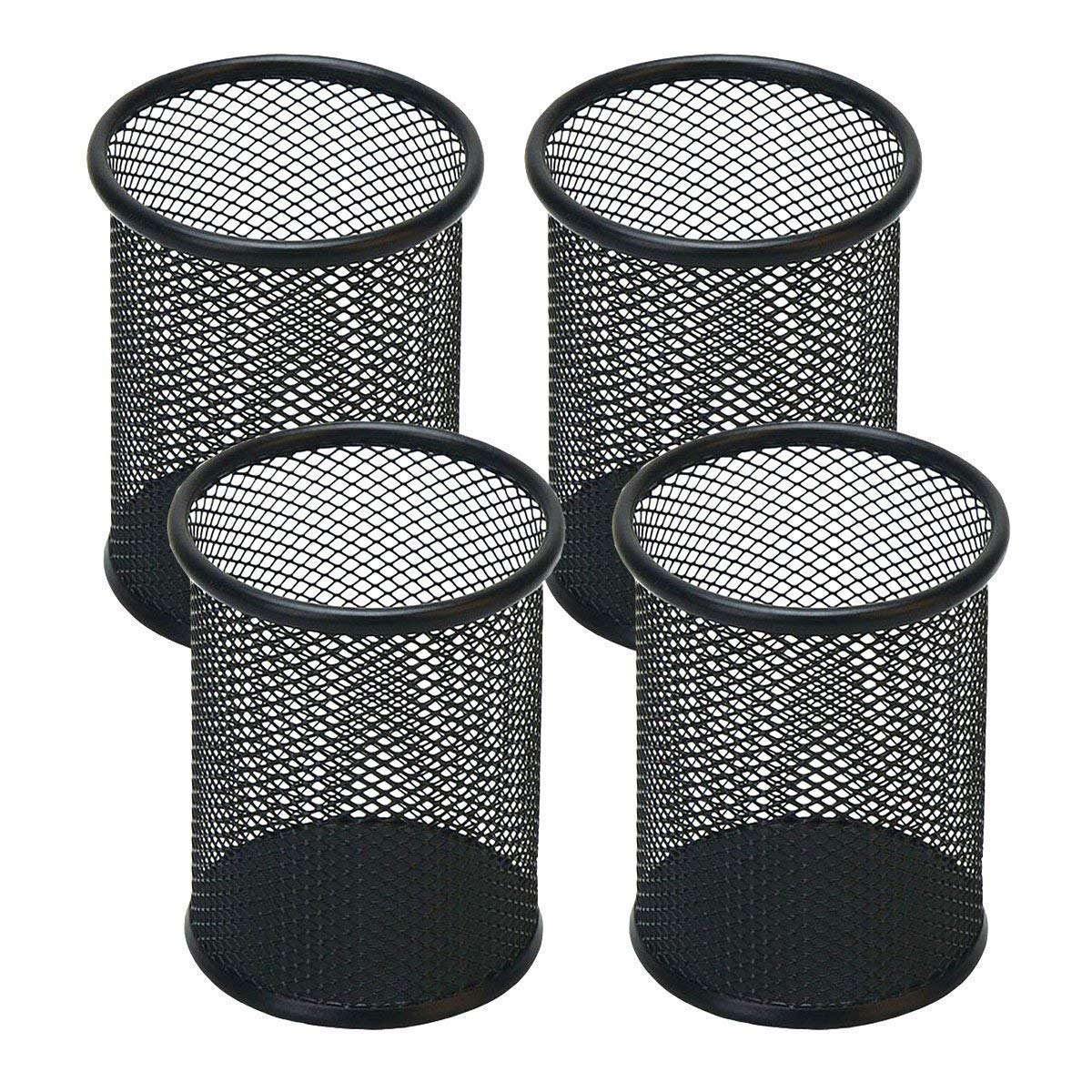 4 Pack Black 4'' inch Round Cylinder Shape Mesh Pen Holder Metal Collection Jumbo Pencil Cup Pen Organizer Medium Size