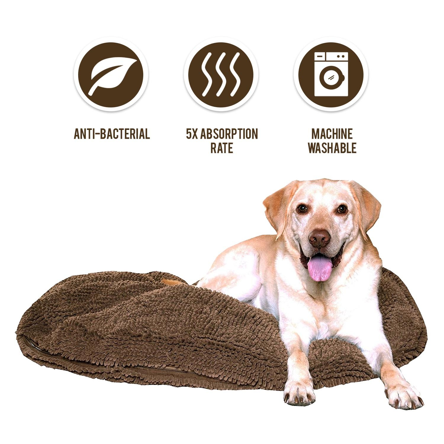 My Doggy Place - Ultra Absorbent, Soft Comfort, Microfiber Chenille Dog Bed Cushion Mat, Durable, Quick Drying, Washable, (Brown 36'' inches)