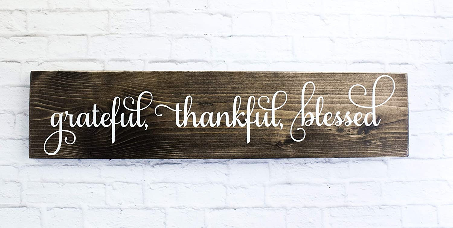 Ready To Ship Kitchen Home Decor Grateful Thankful Blessed Wood Sign