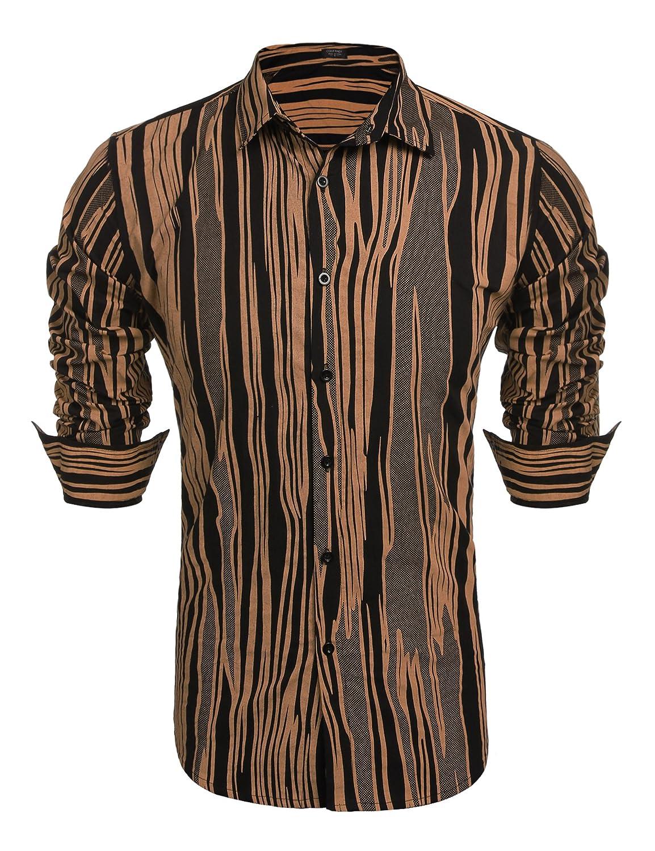 COOFANDY Men's Printed Button Down Shirt Long Sleeve Classic Fit Dress Shirt