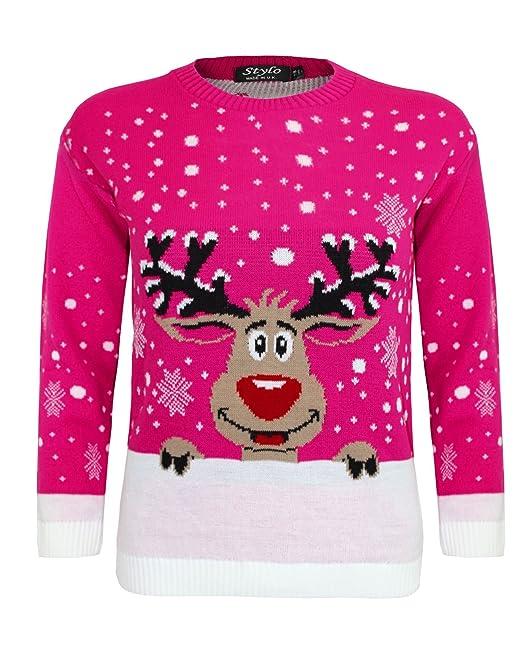 3 opinioni per Per bambini a forma di renna Rudolf Natale Natale Maglione Top 2-14