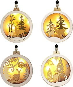 Joiedomi 4 Pcs LED Wooden Christmas Ornaments Hanging Reindeer Ornaments for Indoor/Outdoor Holidays, Party Decoration, Tree Ornaments, Events, and Christmas