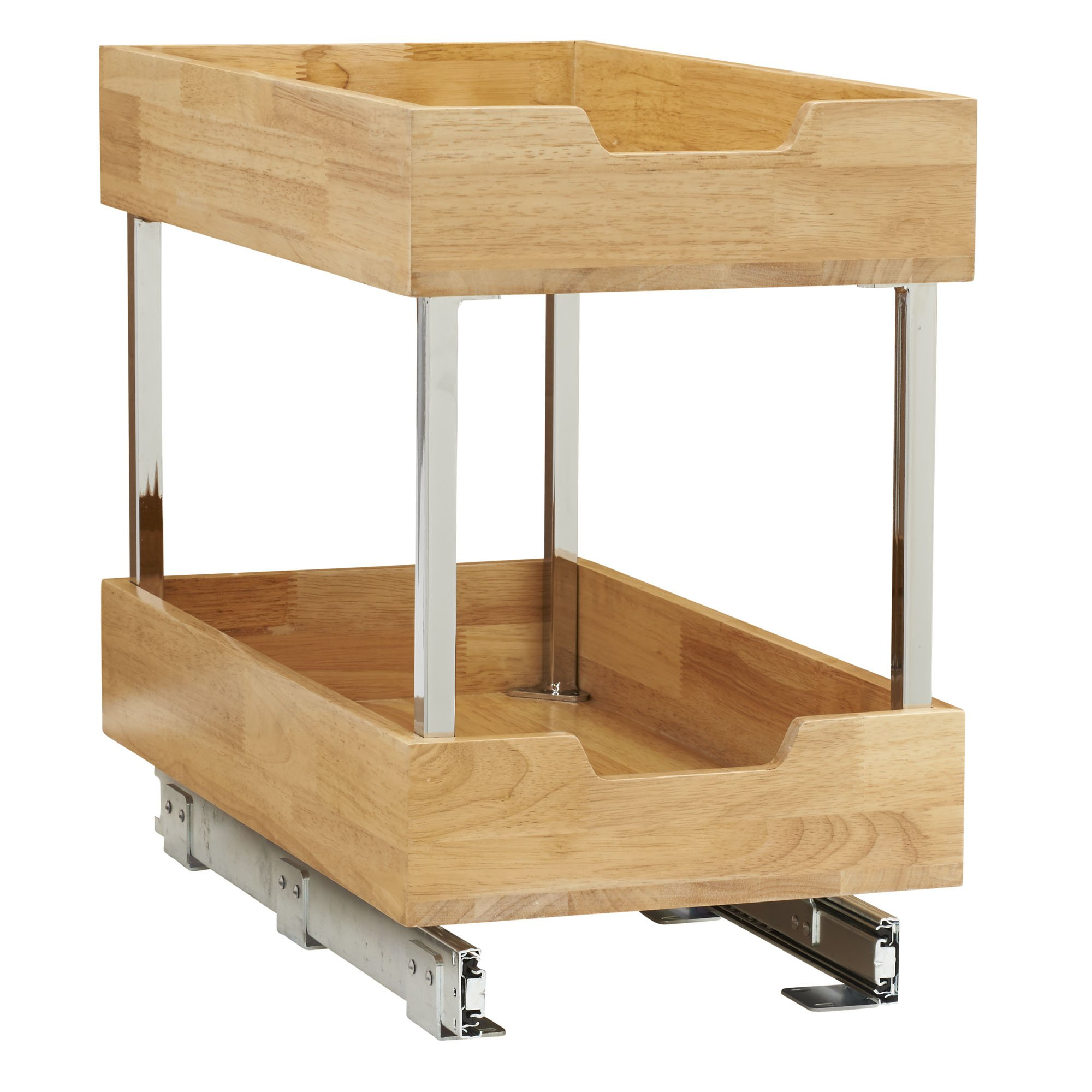 Household Essentials 24221-1 Glidez 2-Tier Sliding Organizer - Pull Out Cabinet Shelf - Wood - 11.5 Inches Wide