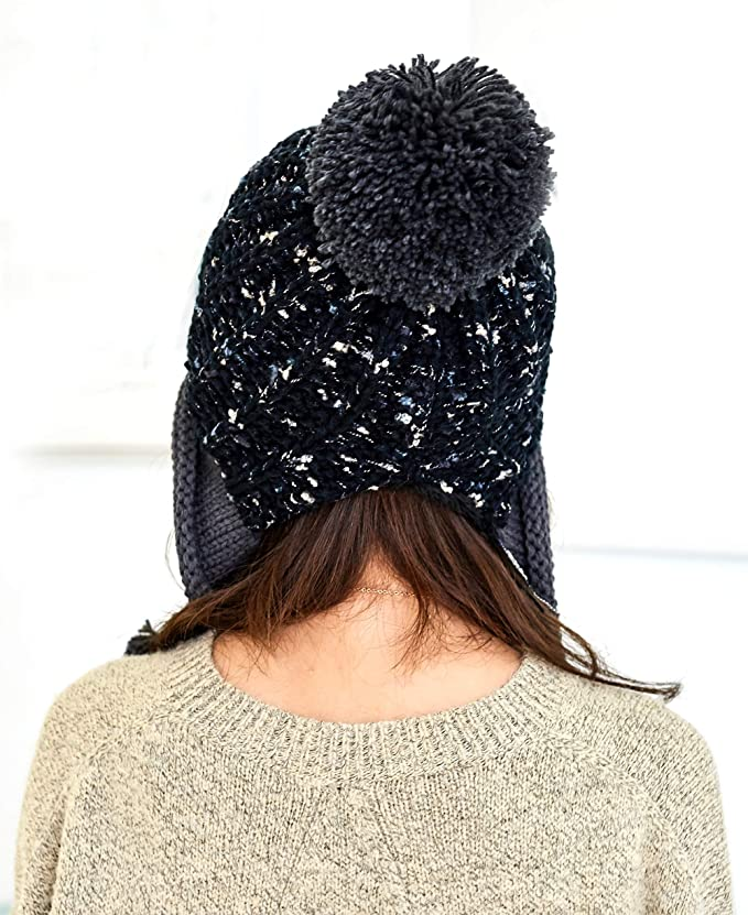 f4950bc052e HUAMULAN Women Skull Beanie Hat Peruvian Cap Winter Fleeced Ski Ear Flaps  Pompoms at Amazon Women s Clothing store