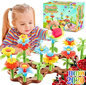 FunzBo Flower Garden Building STEM Toys - Gardening Pretend Gift for Girls Kids Toy - Educational Activity for Preschool Children Age 3 4 5 6 7 Year Old - Stacking Game for Toddlers playset (Brown)