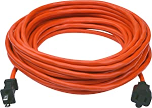 Clear Power 50 ft Outdoor Extension Cord 16/2 SJTW, Orange, Water & Weather Resistant, Flame Retardant, 2 Prong Polarized Plug, CP10188