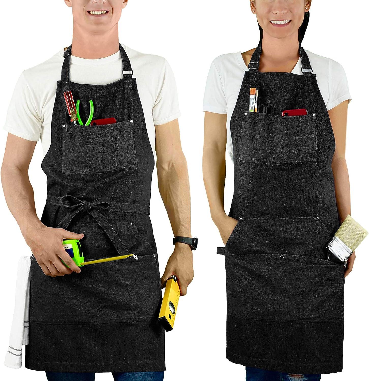 MultiExpression Black Denim Chef Apron for Men (1 Pack) BBQ Apron for Women 7 Tool Pockets Cooking Kitchen Barber Shop Grill Jean Apron Bartender Bib Apron Adjustable S to XXL mandiles para Hombres
