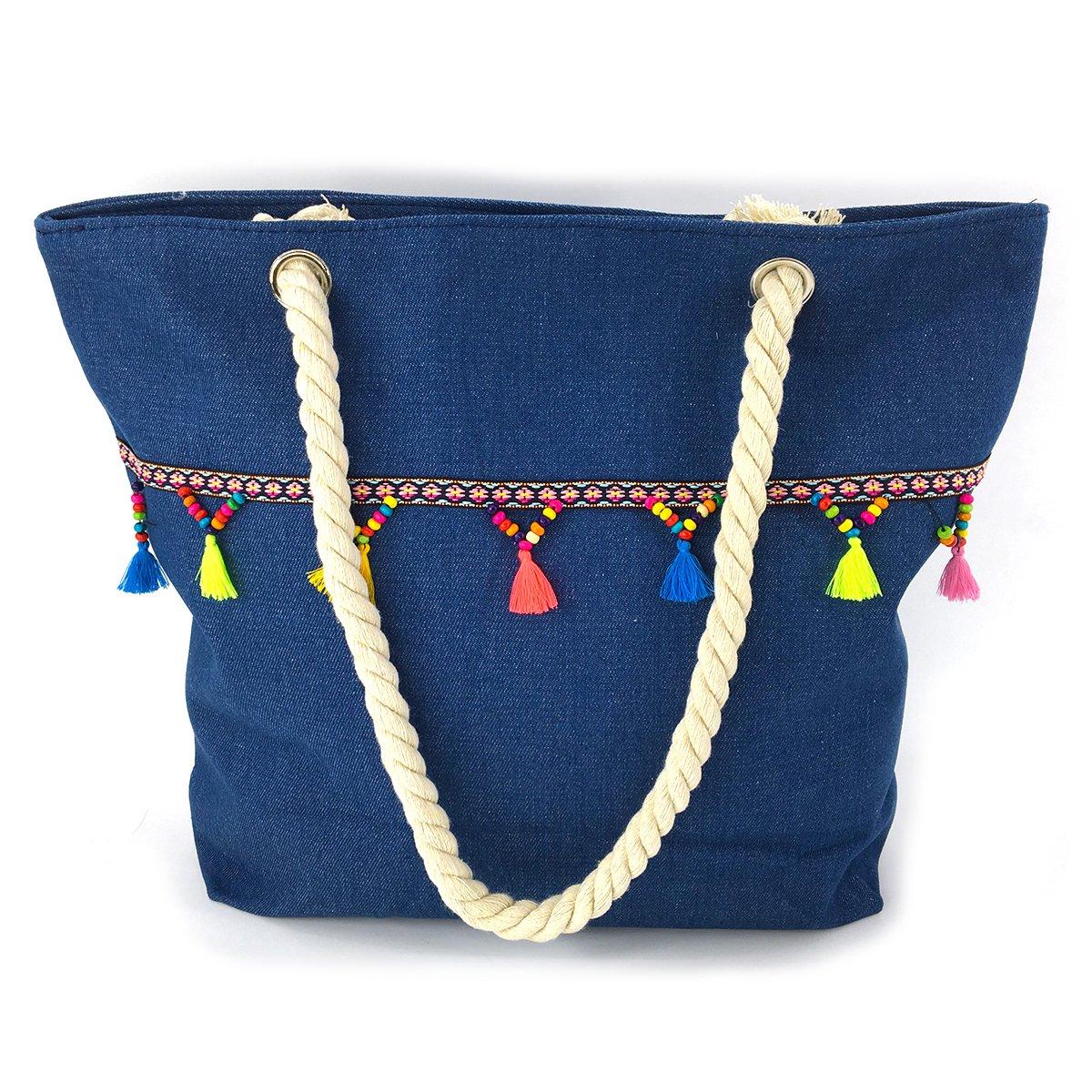 We We Denim Jeans Beach Bag, Handmade Duffel Bag, Boho Demin Tote Shoulder Bag with Tassels
