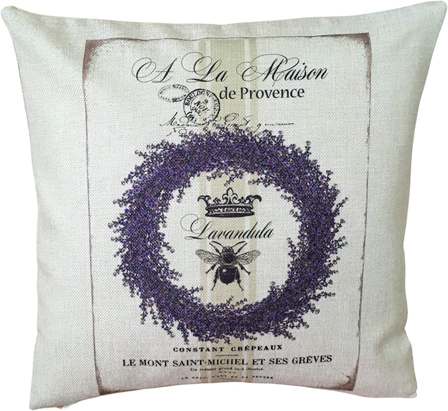 43LenaJon Personalized Pillowcase Provence Lavender Pillow Cover Rustic French Country Botanical Present Home Decor