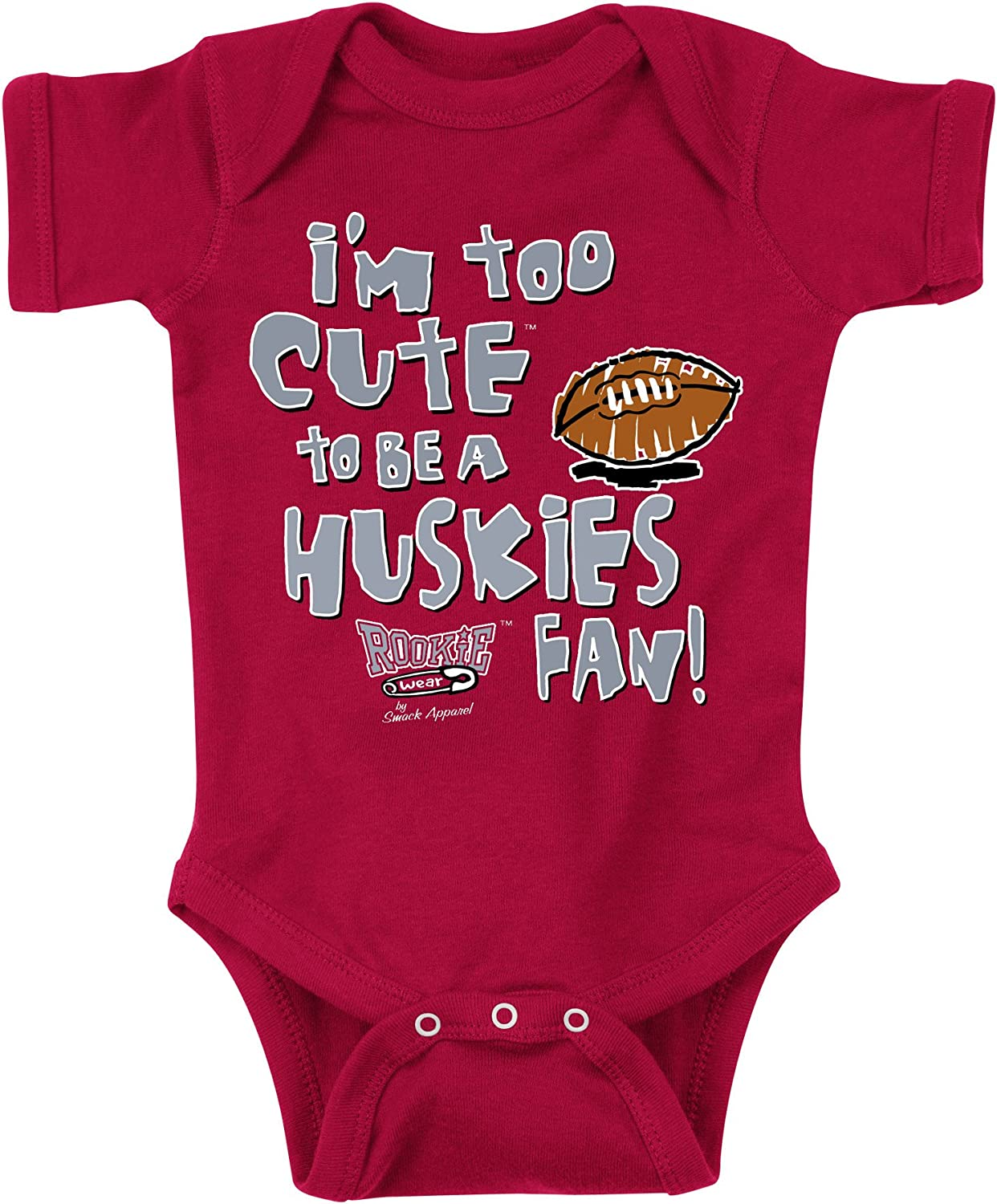 or Toddler Tee Too Cute Onesie Smack Apparel Washington State Football Fans NB-18M 2T-4T