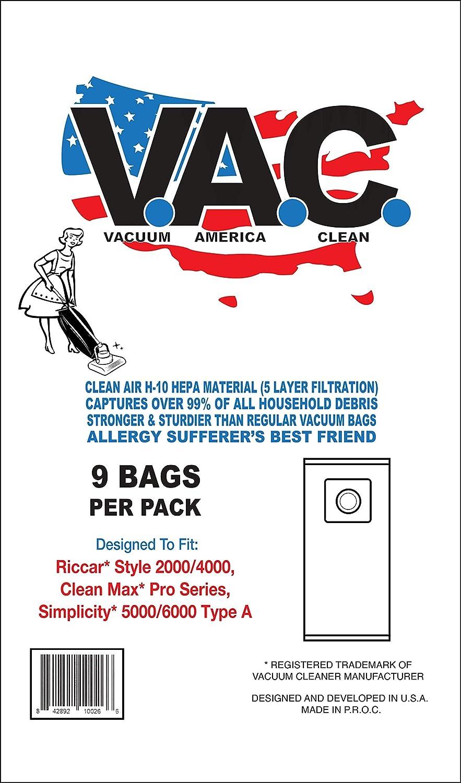 Repuesto de aspiradora América Clean para RICCAR Style 2000/4000, Clean MAX Pro Series, Simplicity 5000/6000 Tipo A | 1 Paquete de 9 Bolsas de Tela HEPA: Amazon.es: Hogar