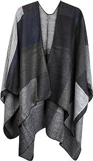 styleBREAKER poncho con motivo rettangolare, mantellina, poncho double face, design patchwork, donna 08010008