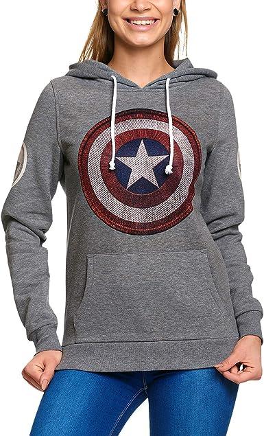 Capitán América, Sudadera con Capucha, Logotipo de la Marca, con Capucha Retro Marvel Elvenwald Gris - XS