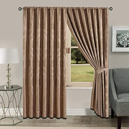 Luxury Fully Lined Pencil Pleat Curtains Pair Jacquard Tiebacks /& Cushion Covers