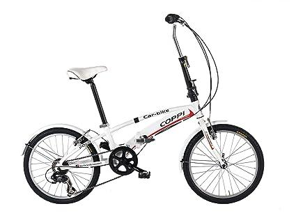 """Coppi car bike, Bicicletta da Città Pieghevole 20"""", Bianco"""