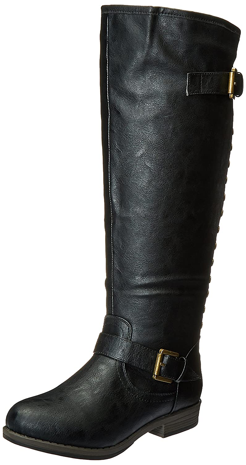 Journee Collection Womens Regular Sized, Wide-Calf and Extra Wide-Calf Studded Knee-High Riding Boot B01345OHRE 8.5 B(M) US|Black Wide Calf