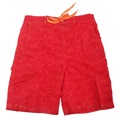 Childrens Boys Shark Print Lined Swim Shorts