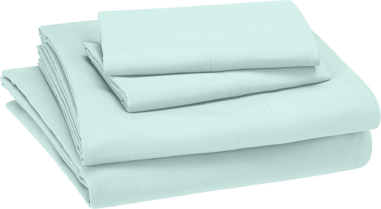 AmazonBasics Kid's Sheet Set - Soft, Easy-Wash Lightweight Microfiber - Queen, Light Jade Green