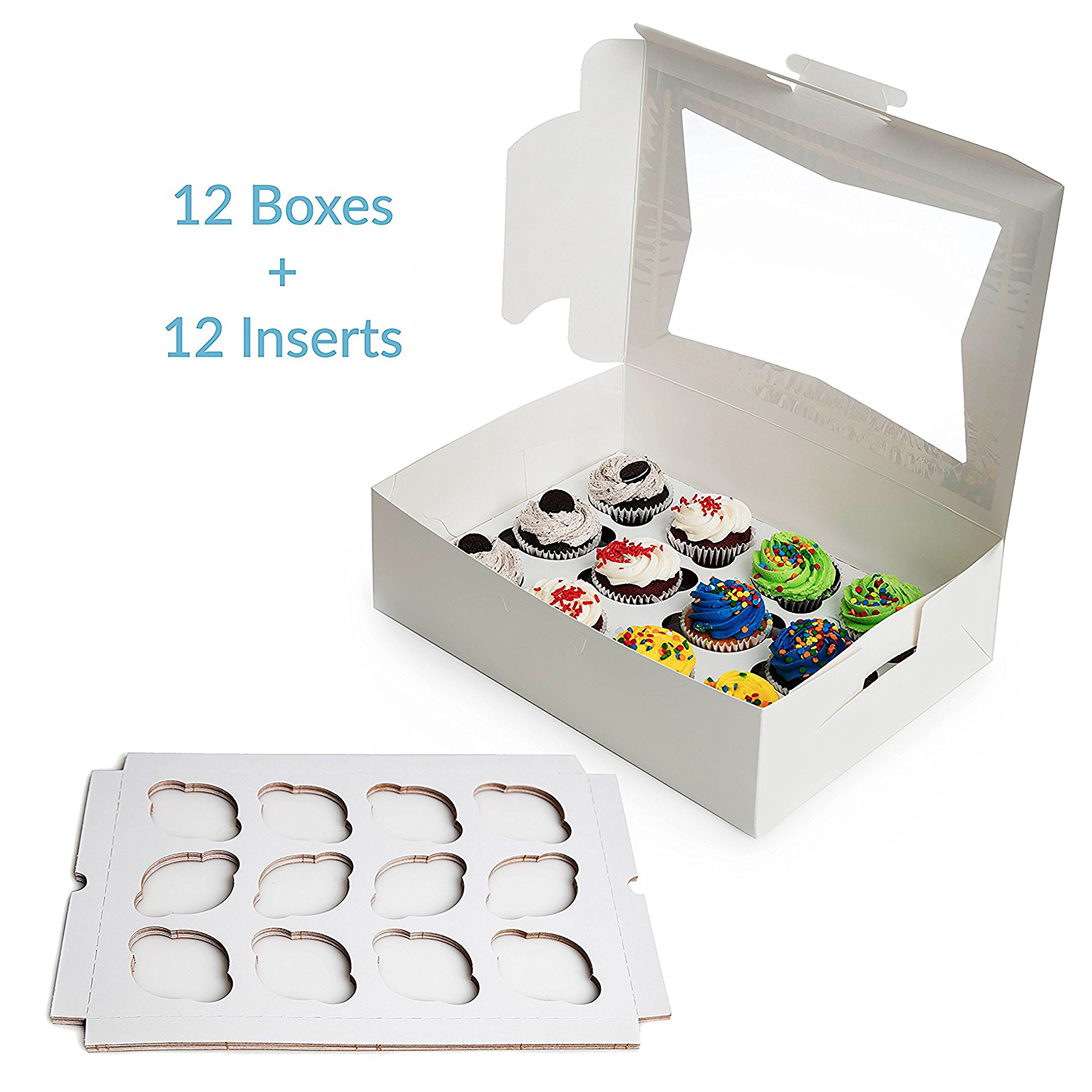 Paperboard Cupcake Boxes with Inserts, Set of 12 Cupcake Container Bakery Window Display Box With Cupcake Inserts, Perfect for Transporting Cupcakes by Upper Midland Products