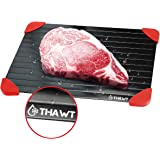 Thawt Defrosting Tray Large with Silicone Rapid Thaw Frozen Food Fast No Electricity, Battery, Microwave, Heating Pads…