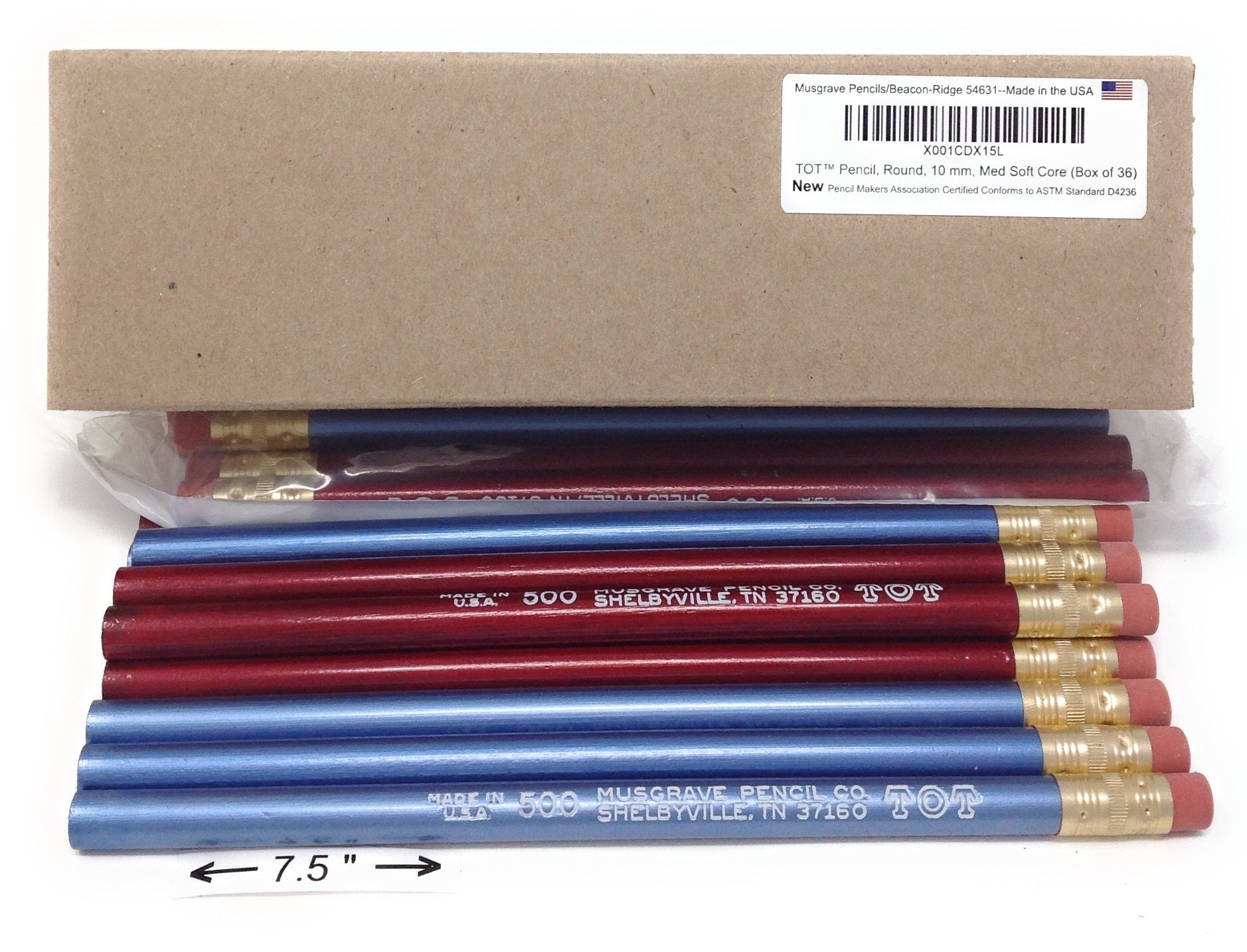Jumbo TOT pencil, Round, 10mm Metallic Blue and Red, Med Soft Core (Box of 36)