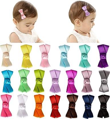 Pretty Mini Pair Grosgrain Ribbon Bow Girl Toddler Baby Hair Clips Slides Cute