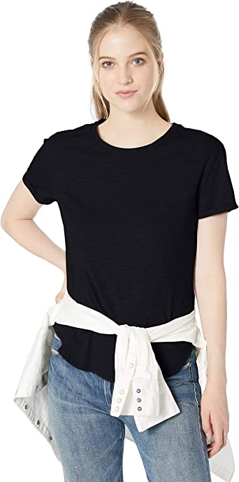 Amazon Brand Daily Ritual Women's Lived in Cotton Roll Sleeve Crewneck T Shirt