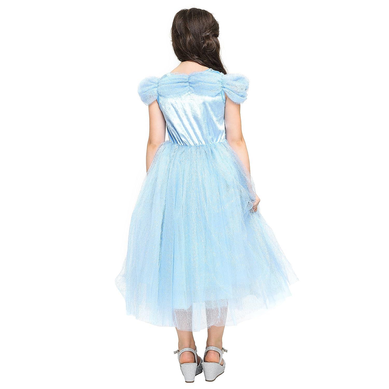 Katara - Cenicienta Disfraz de Princesa Vestido con broches de Mariposas y Falda de Tul para niñas, 8-9 años: Amazon.es: Juguetes y juegos