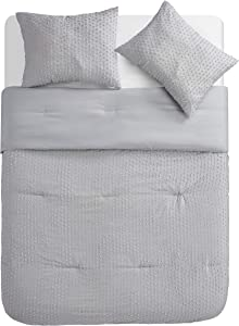 Tahari Home | Vee Bedding Collection | Luxury Ultra Soft Comforter, All Season Premium 3 Piece Set, Modern Chic Clip Jacquard, Designed for Home Hotel Décor, Full/Queen, Grey